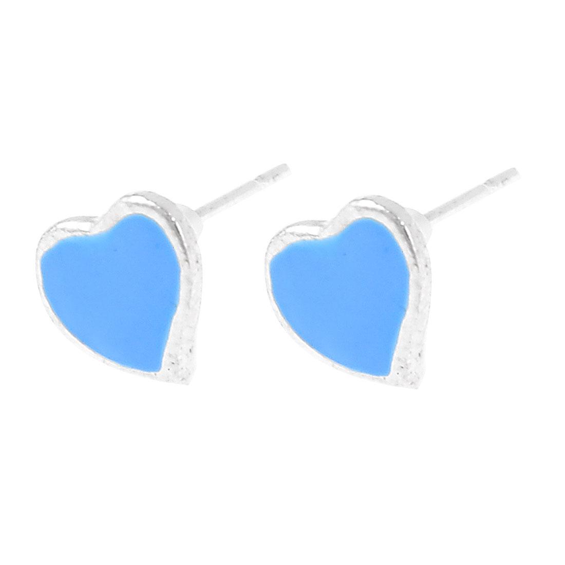 Woman Pair Blue Heart Shape Metal Stud Earbobs Earrings