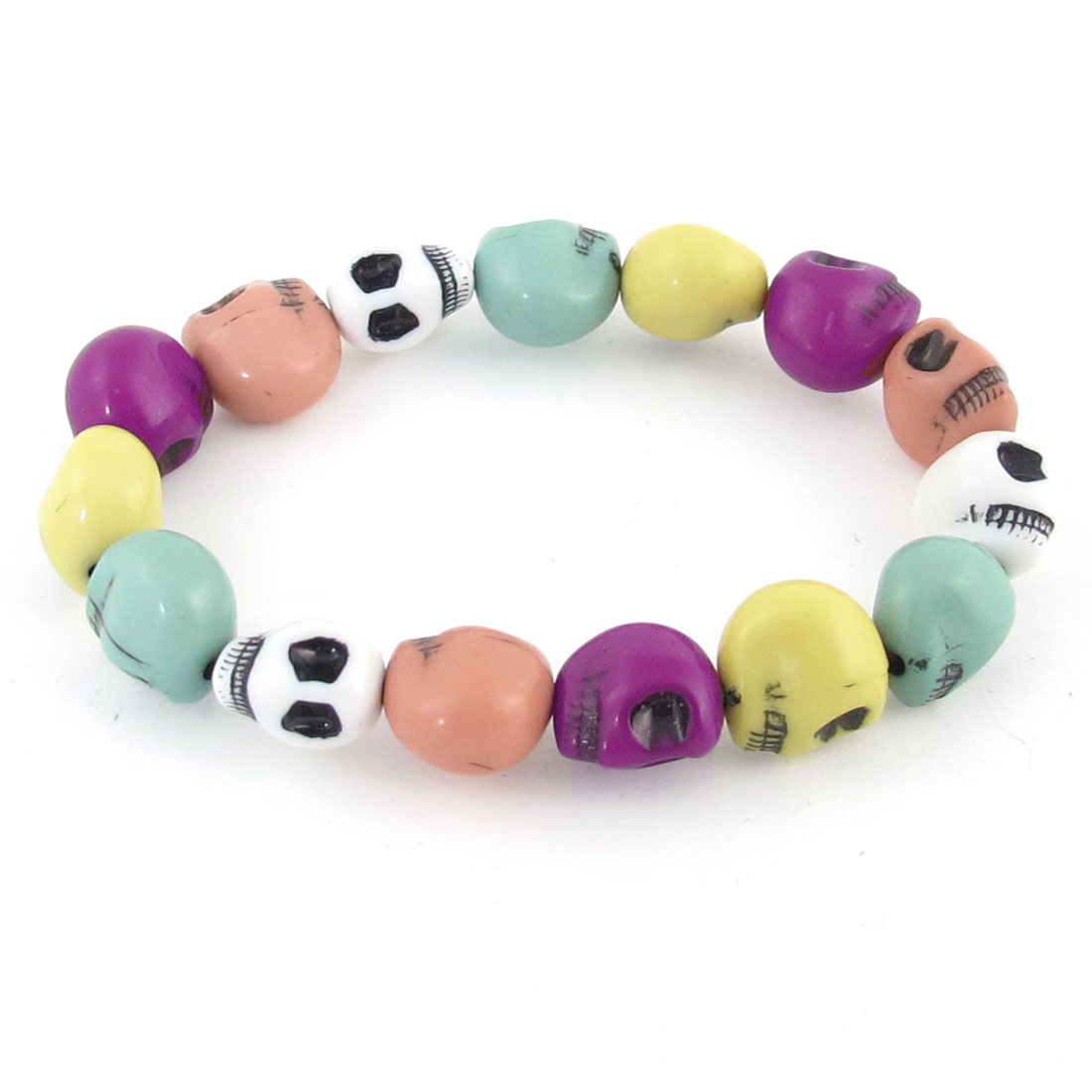 Colorful Skull Head Design Beads Stretchy Chain Bracelet for Ladies
