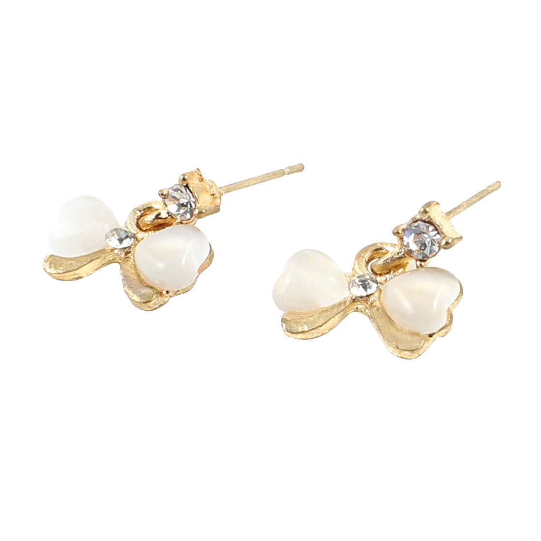 Pair Ladies Faux Pearl Decor Champagne Color Bowtie Ear Nail Stud Earrings