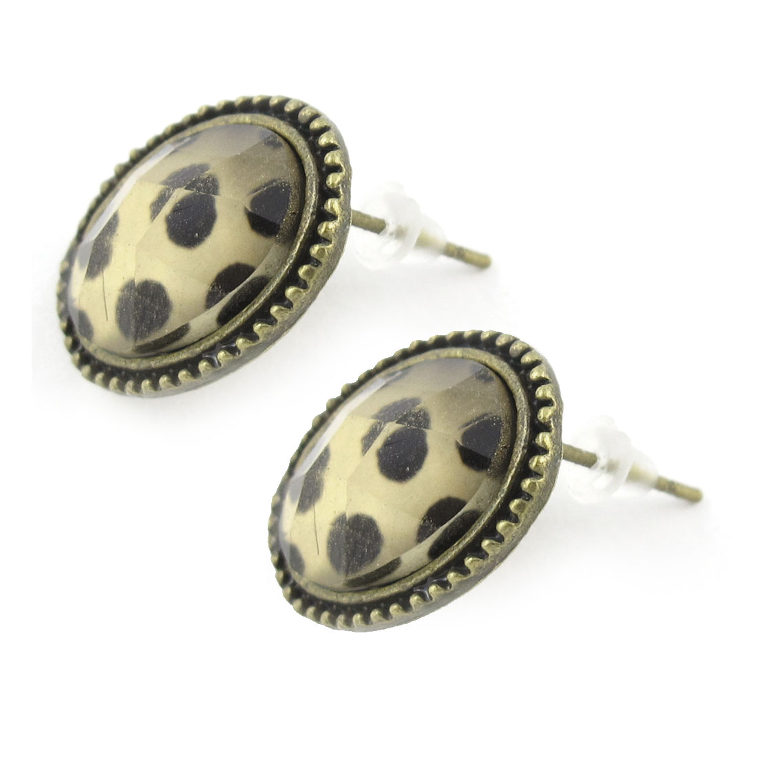 Pair Leopard Print Oval Shaped Bronze Tone Earring Stud for Ladies