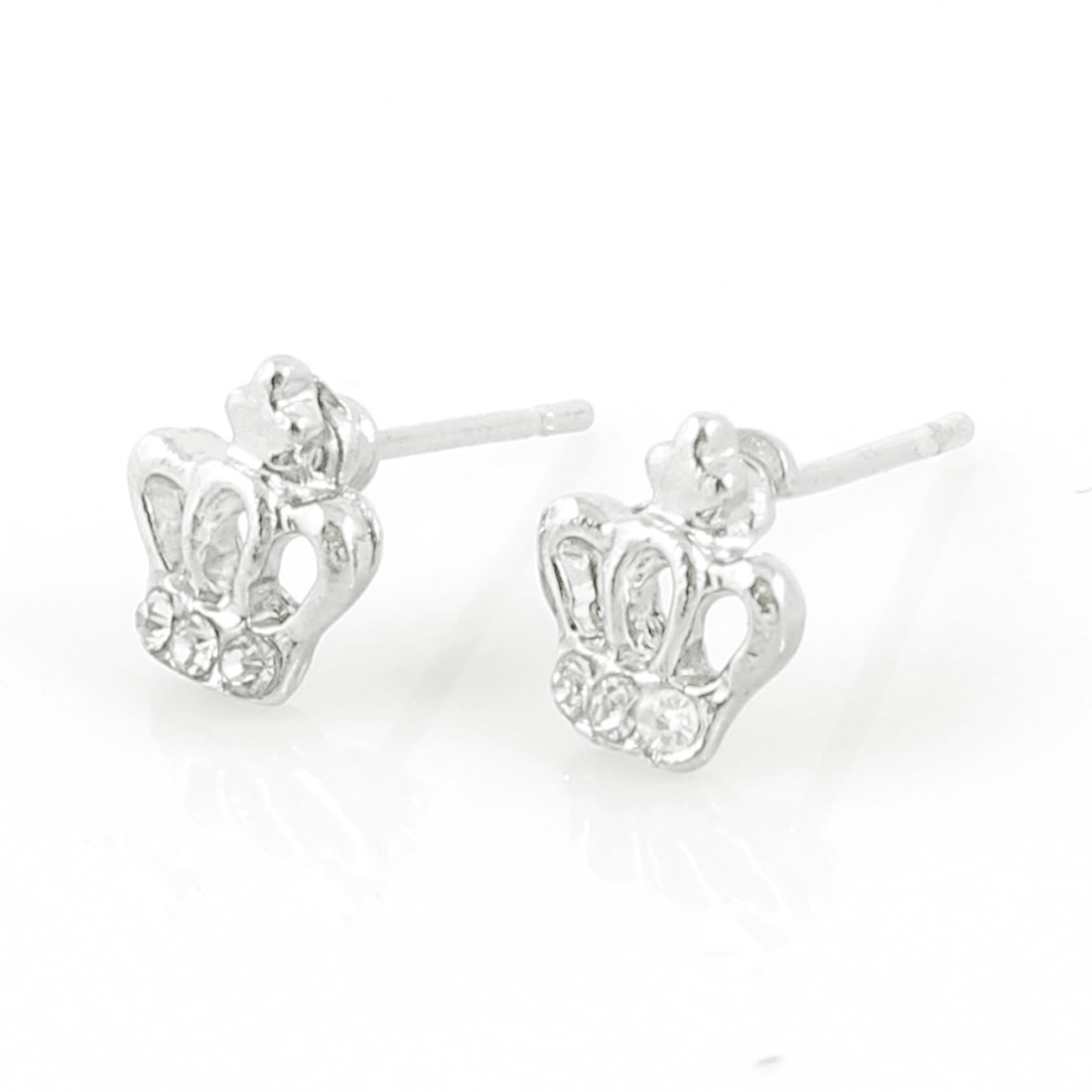 Lady Ear Decor Bling Mini Rhinestone Accent Crown Design Stud Earrings Pair