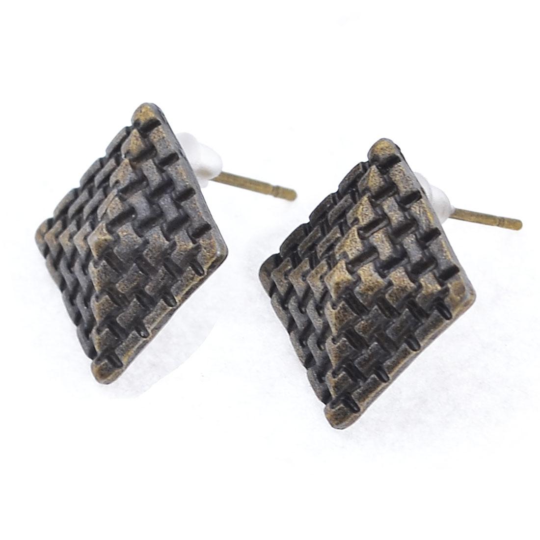 Woman Pair Pyramid Design Metal Stud Earbobs Earrings Gray