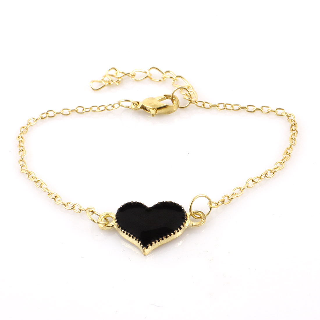 Gold Tone Black Heart Shaped Decor Metal Chain Lobster Clasp Wrist Bracelet