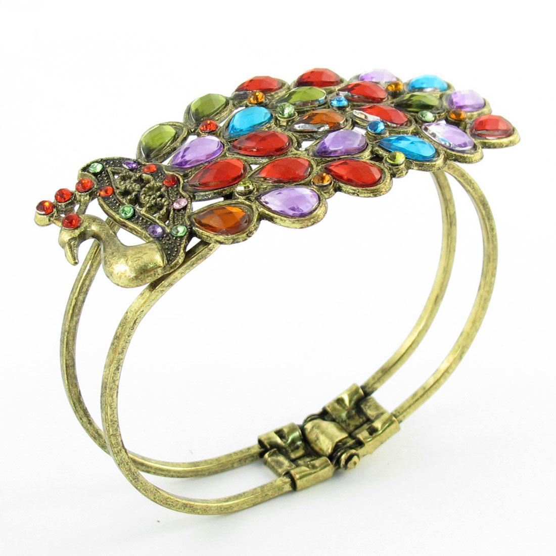 Red Green Rhinestone Inlaid Peacock Design Bronze Tone Bracelet for Ladies