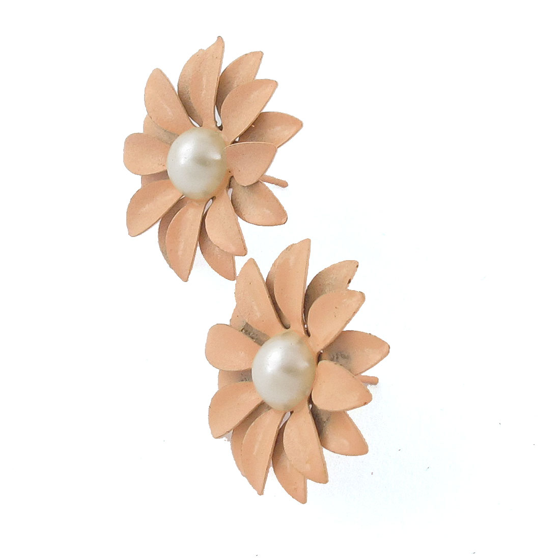 Pair Faux Pearl Decor Apricot Flower Design Earring Stud for Lady