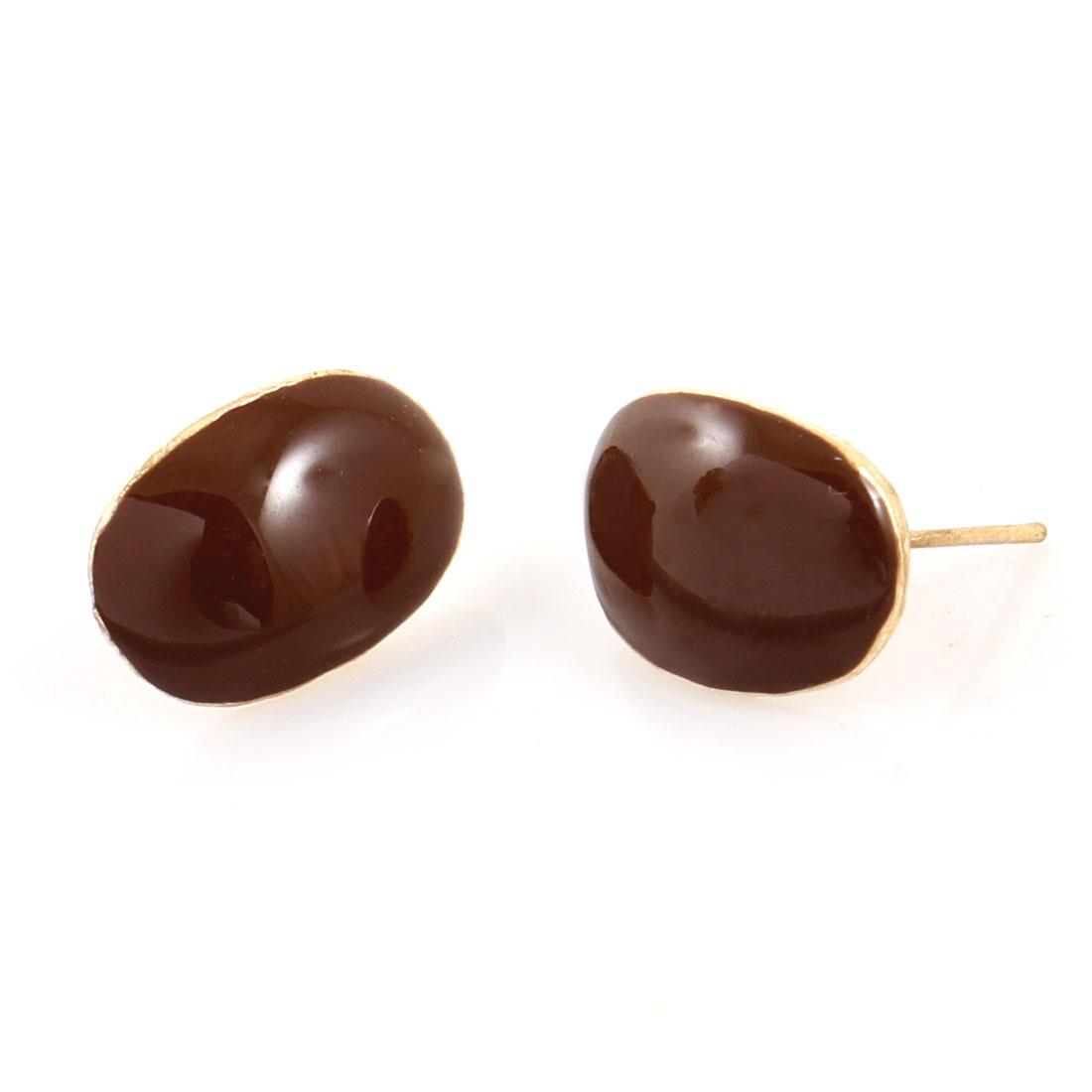 Women Ear Ornament Chocolate Color Coffee Bean Shaped Charm Stud Earrings Pair