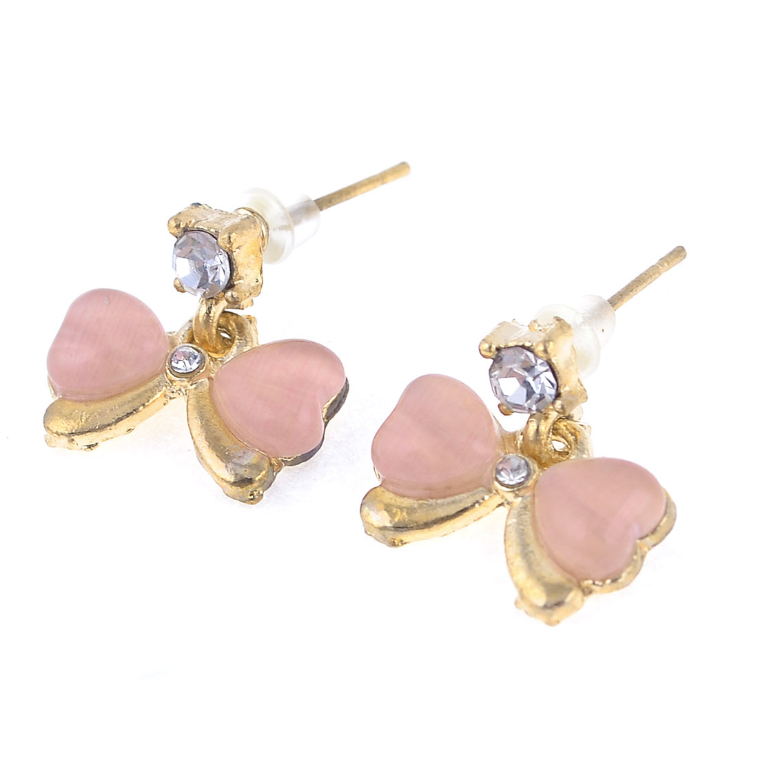 Woman Pair Pink Faux Crystal Inlaid Butterfly Metal Stud Earbobs Earrings