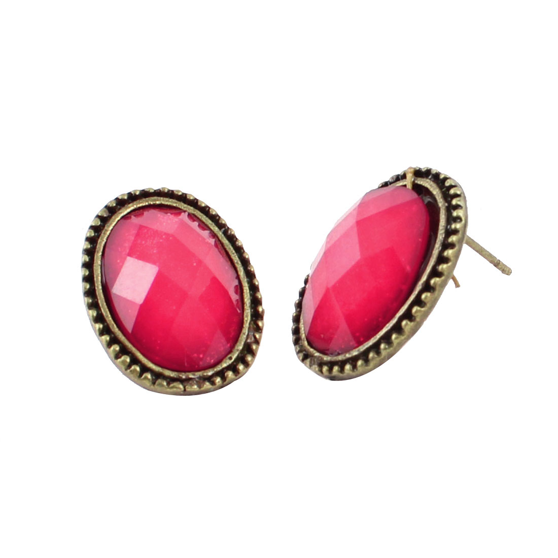 Woman Red Crystal Detail Bronze Tone Brim Oval Shaped Earbobs Stud Earrings