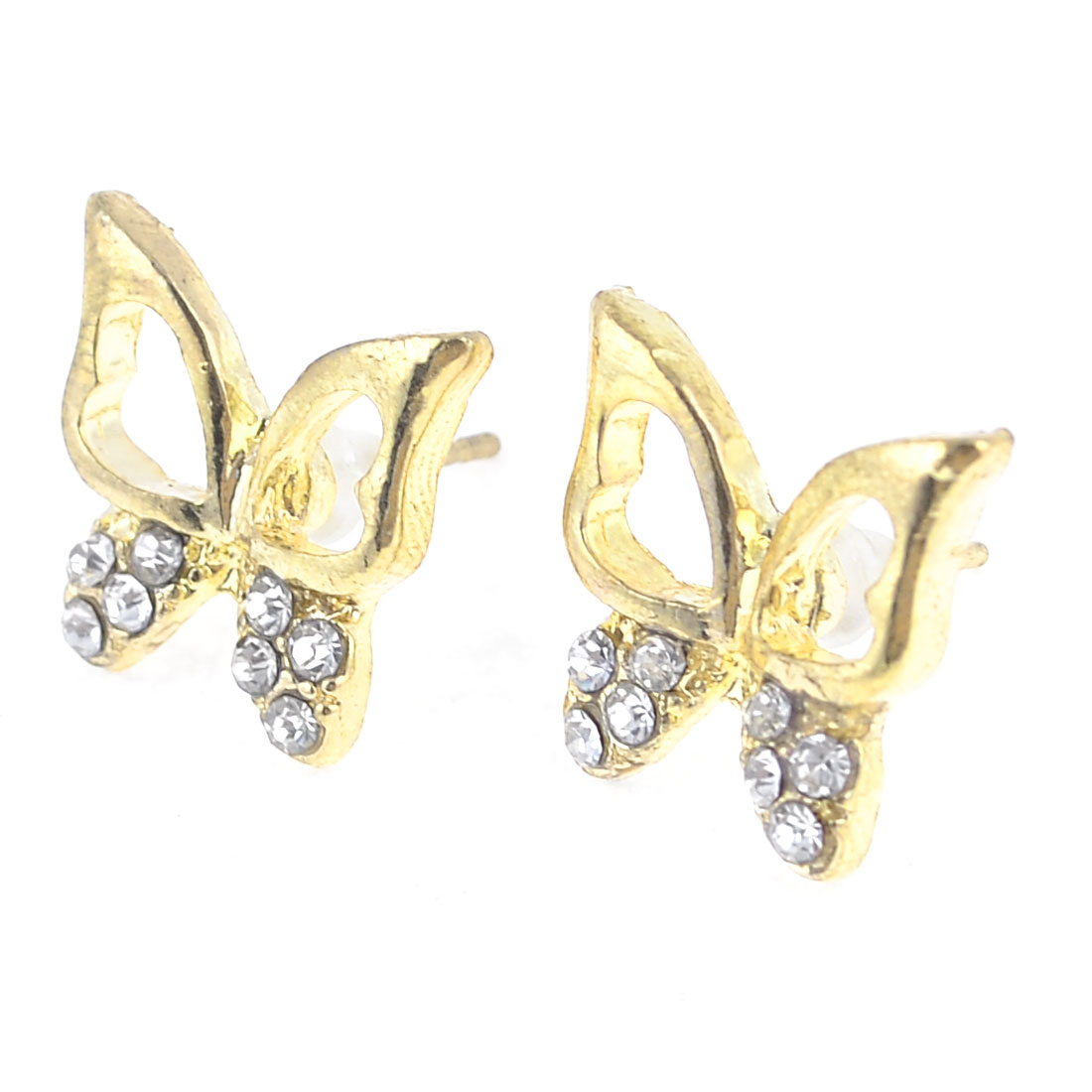2 Pcs Rhinestone Inlaid Hollow Out Ear Stud Earrings Gold Tone for Women
