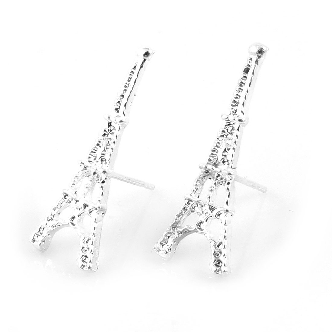 Lady Ear Decor Silver Tone Eiffel Tower Shaped Design Stud Earrings Pair
