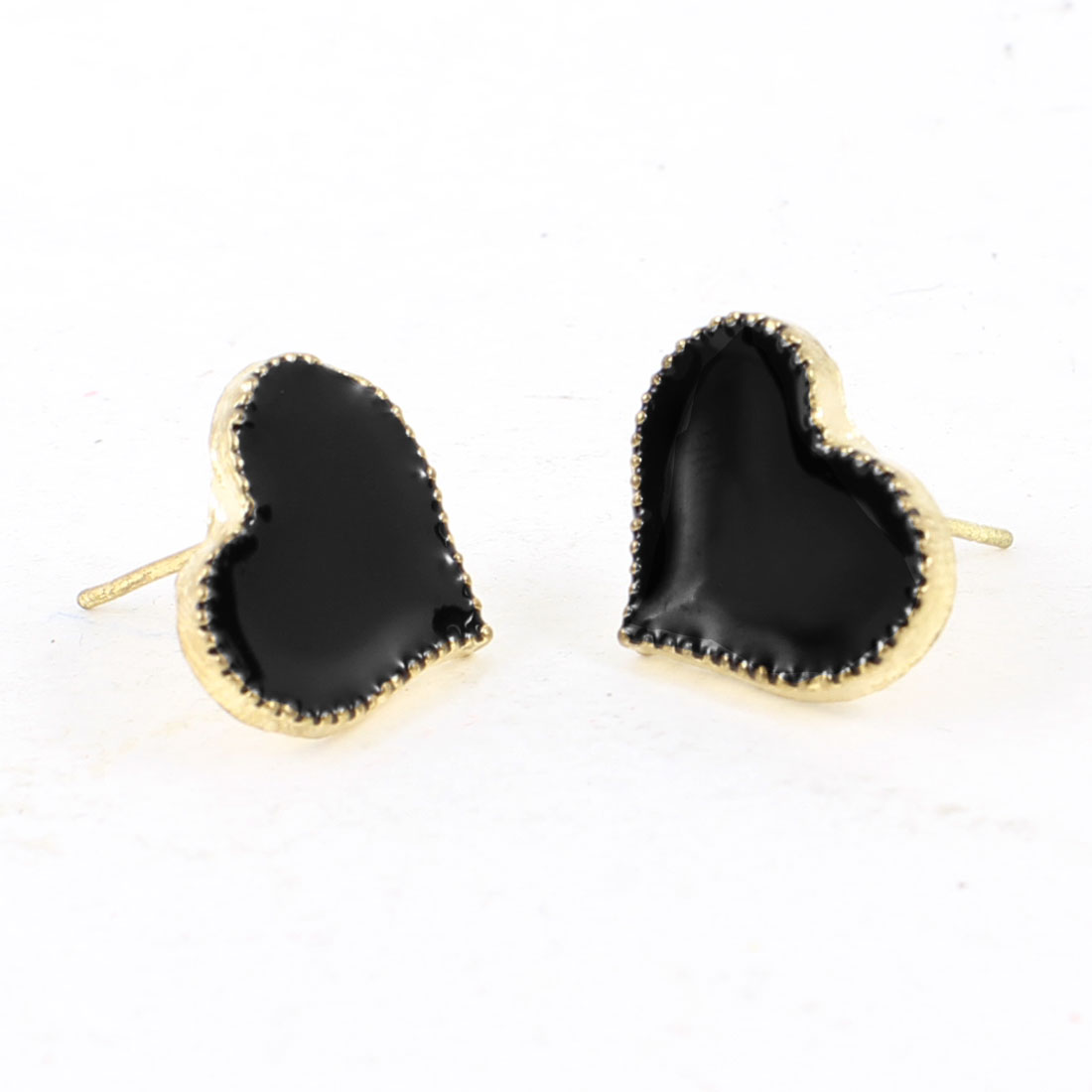 Women Ladies Gold Tone Brim Black Heart Shape Earbobs Ear Nail Stud Earrings