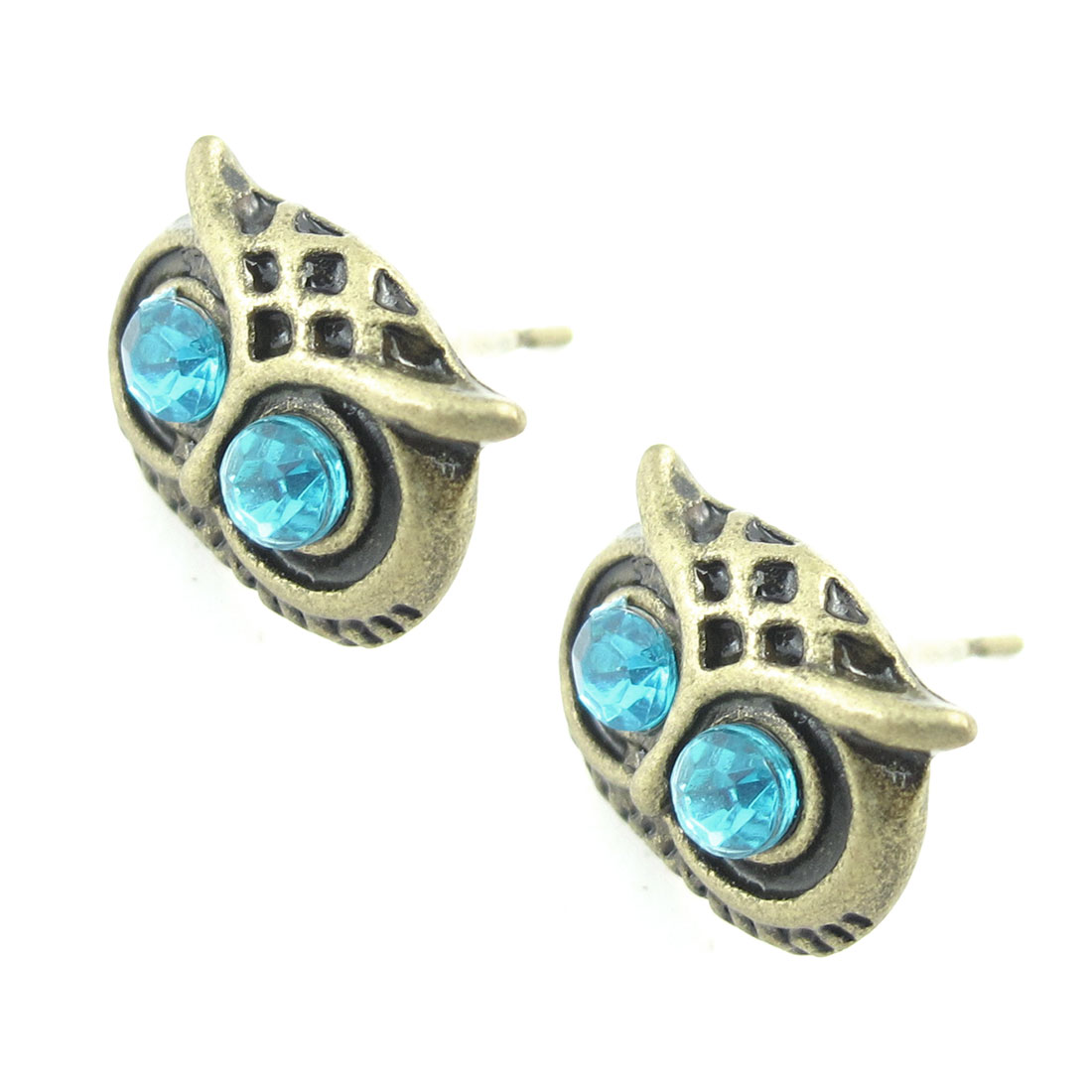 Pair Rhinestone Inlaid Owl Design Pink Bronze Tone Earring Stud for Ladies