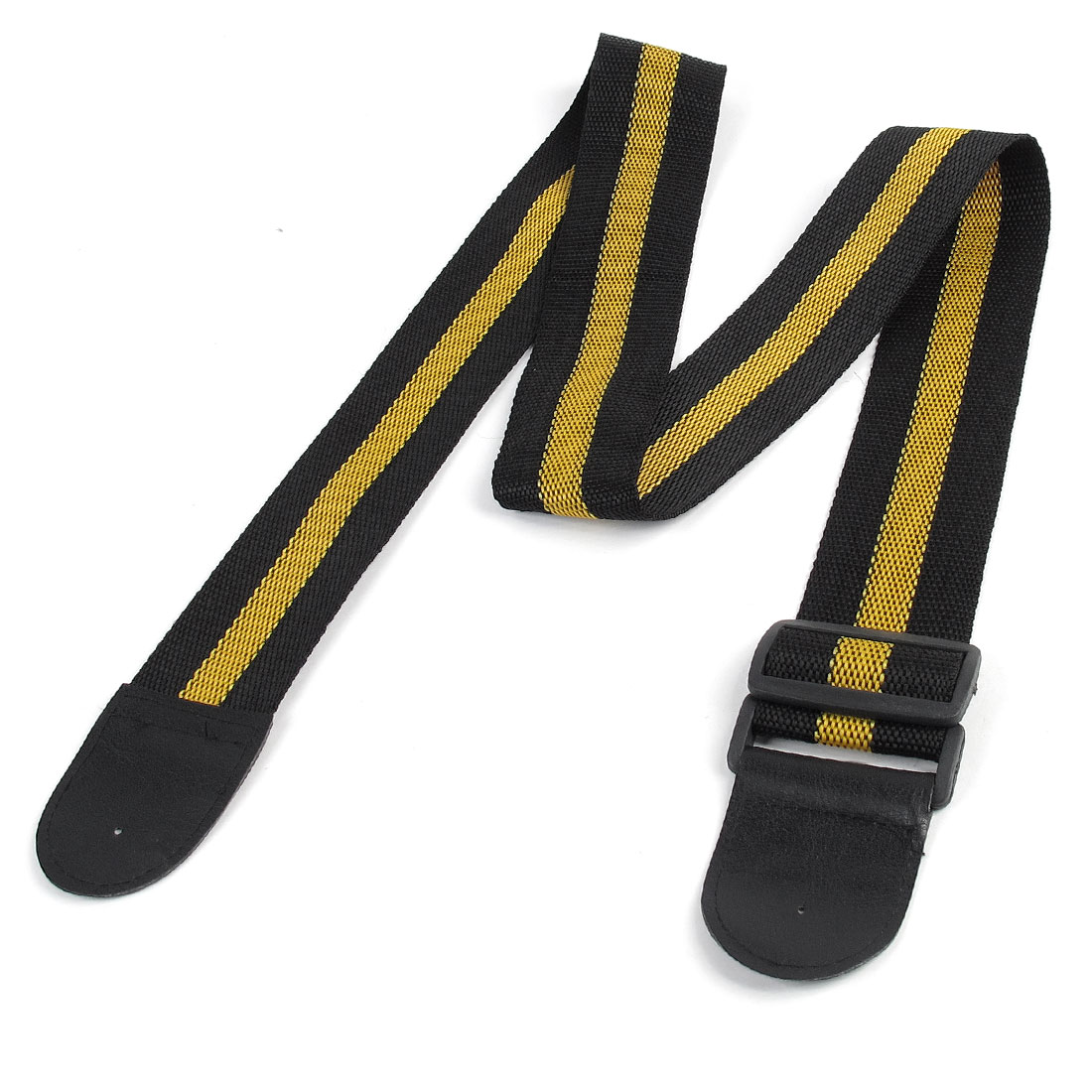 Dark Yellow Black Adjustable Nylon Webbing Belt Guitar Strap