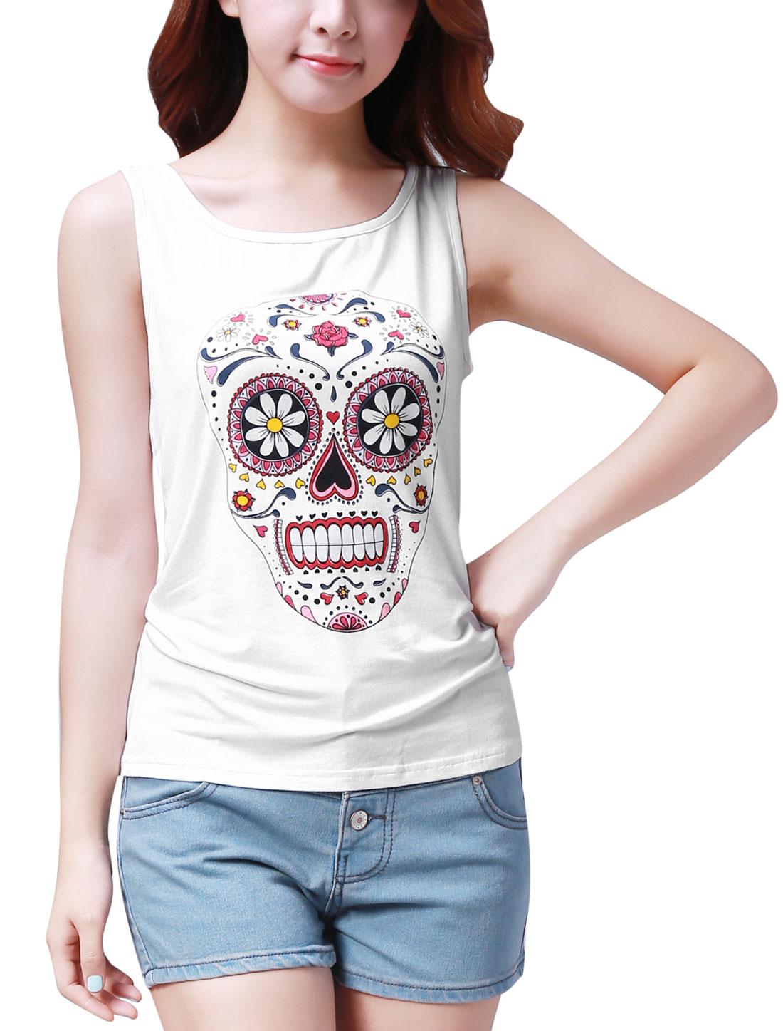 Ladies Scoop Neck Flower Skull Pattern Frnt White Tunic Tank Top XL