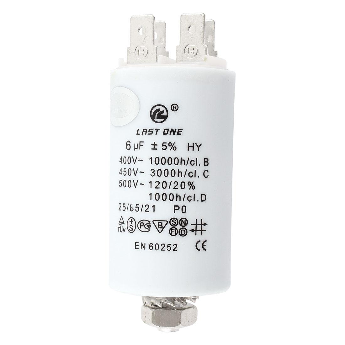 EN60252 Cylinder Shaped Motor Run Capacitor AC 400V 1000h/c 6uF