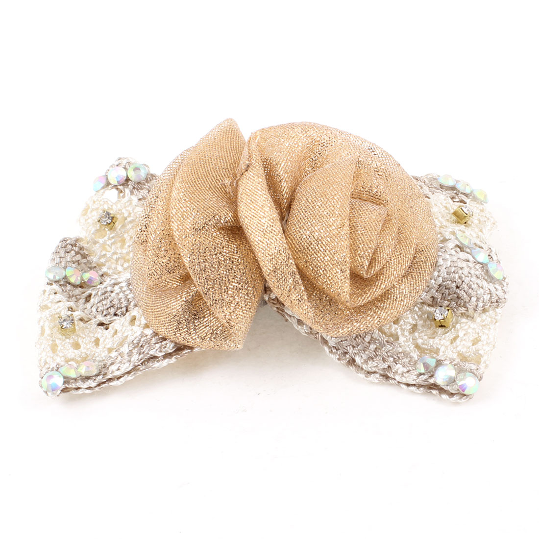 Women Rhinestone Champagne Color Flower Accent Beige Bowknot Hair Clip
