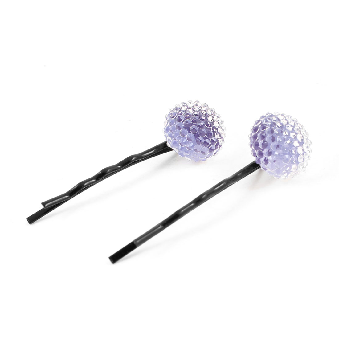 2 Pcs Woman Clear Purple Ball Decor Black Metal Bobby Pins Hair Grips Hairclips