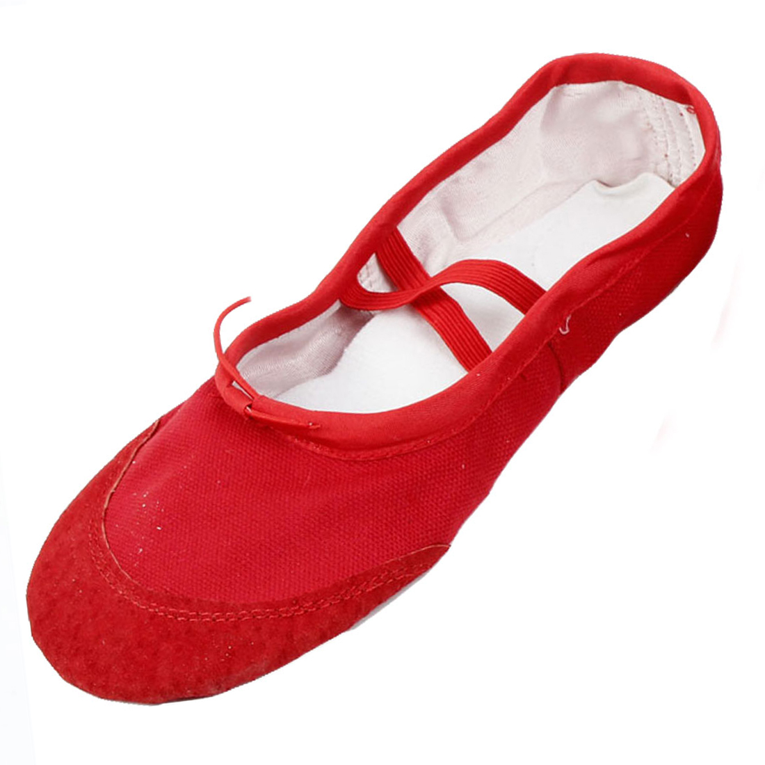 Red Split Sole Drawstring Top Ballet Dancing Flats Shoes Size 39 for Lady