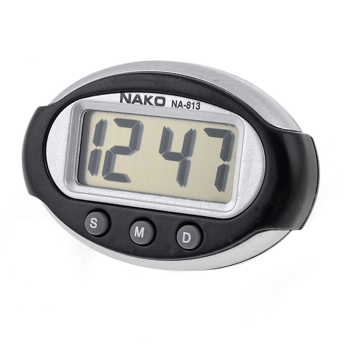 Black Silver Tone Plastic Oval Shape Case Car Dashboard Digital Clock