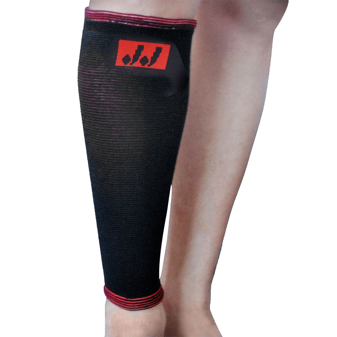 Sports Protecting Elastic Shin Calf Support Sleeve Black Red
