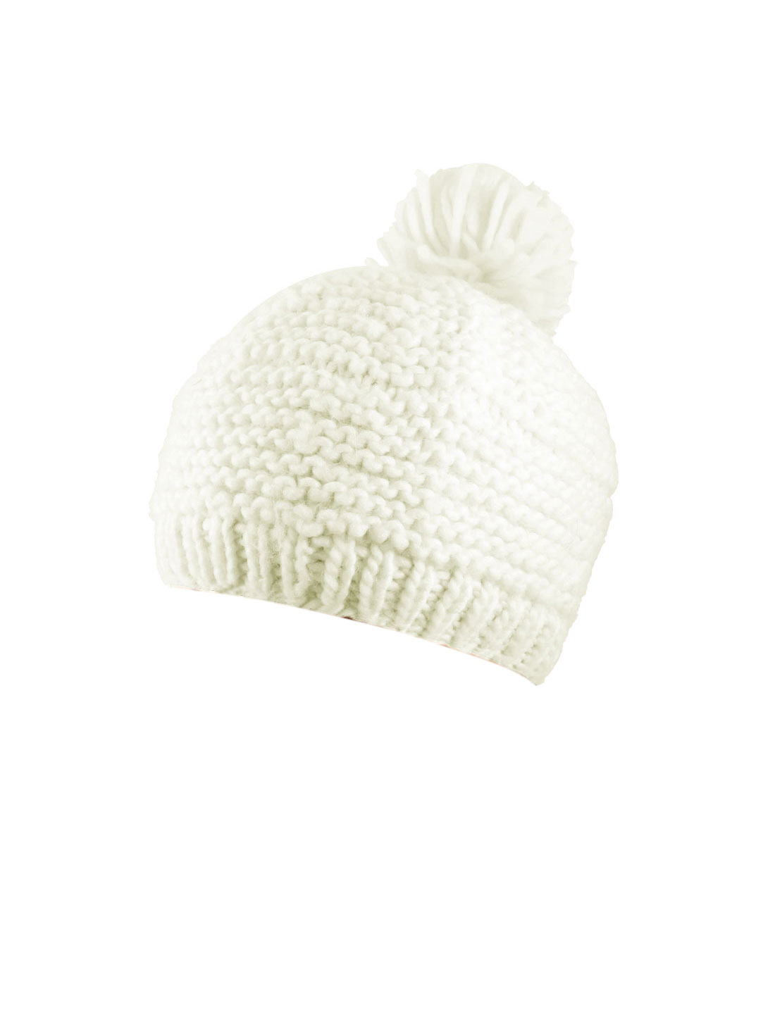 Girl Lady Acrylic Knitted Ribbing Pom Beanie Winter Hat Off White