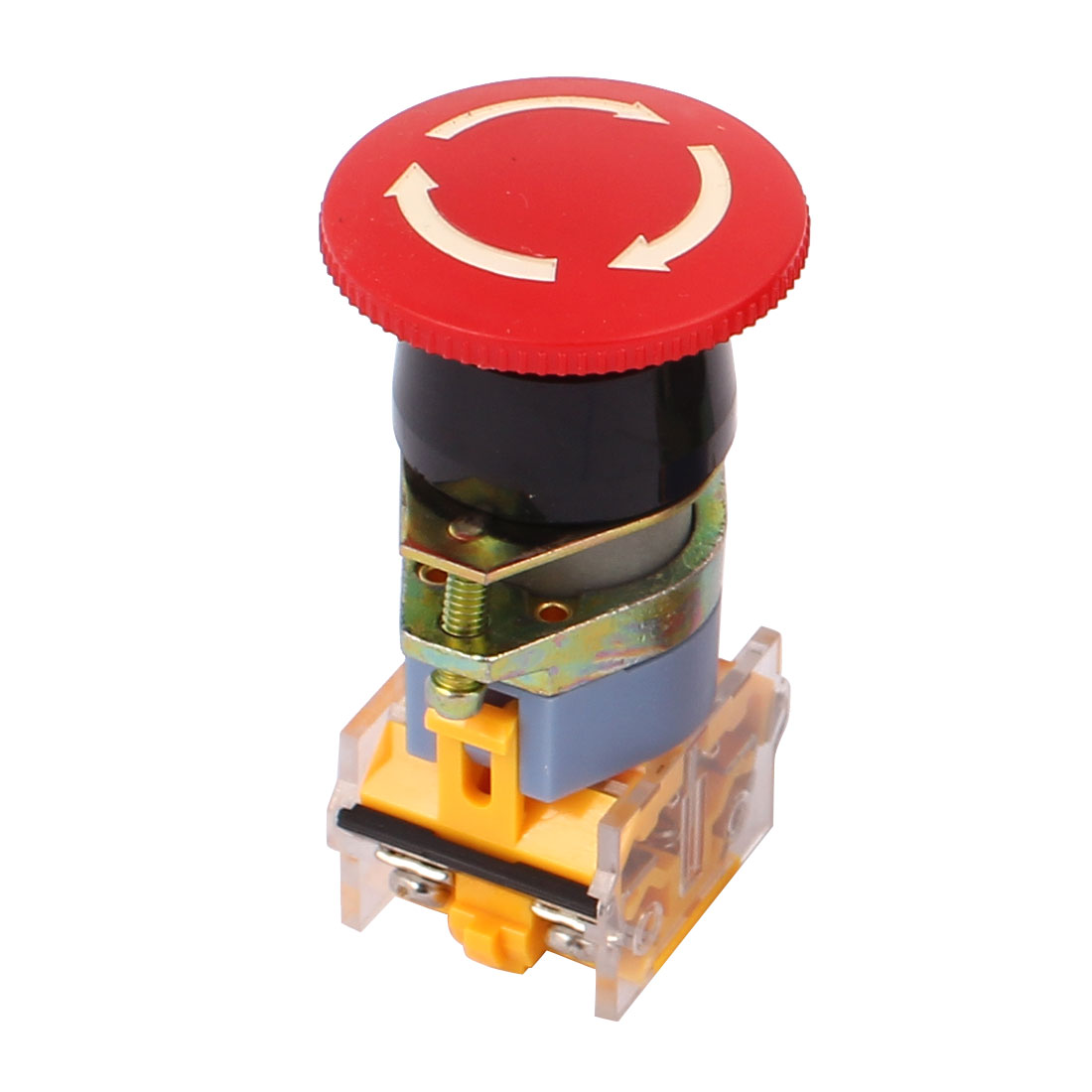 AC660V 10A 1NO 1NC DPST Self Latching Mushroom Head Emergency Stop Switch
