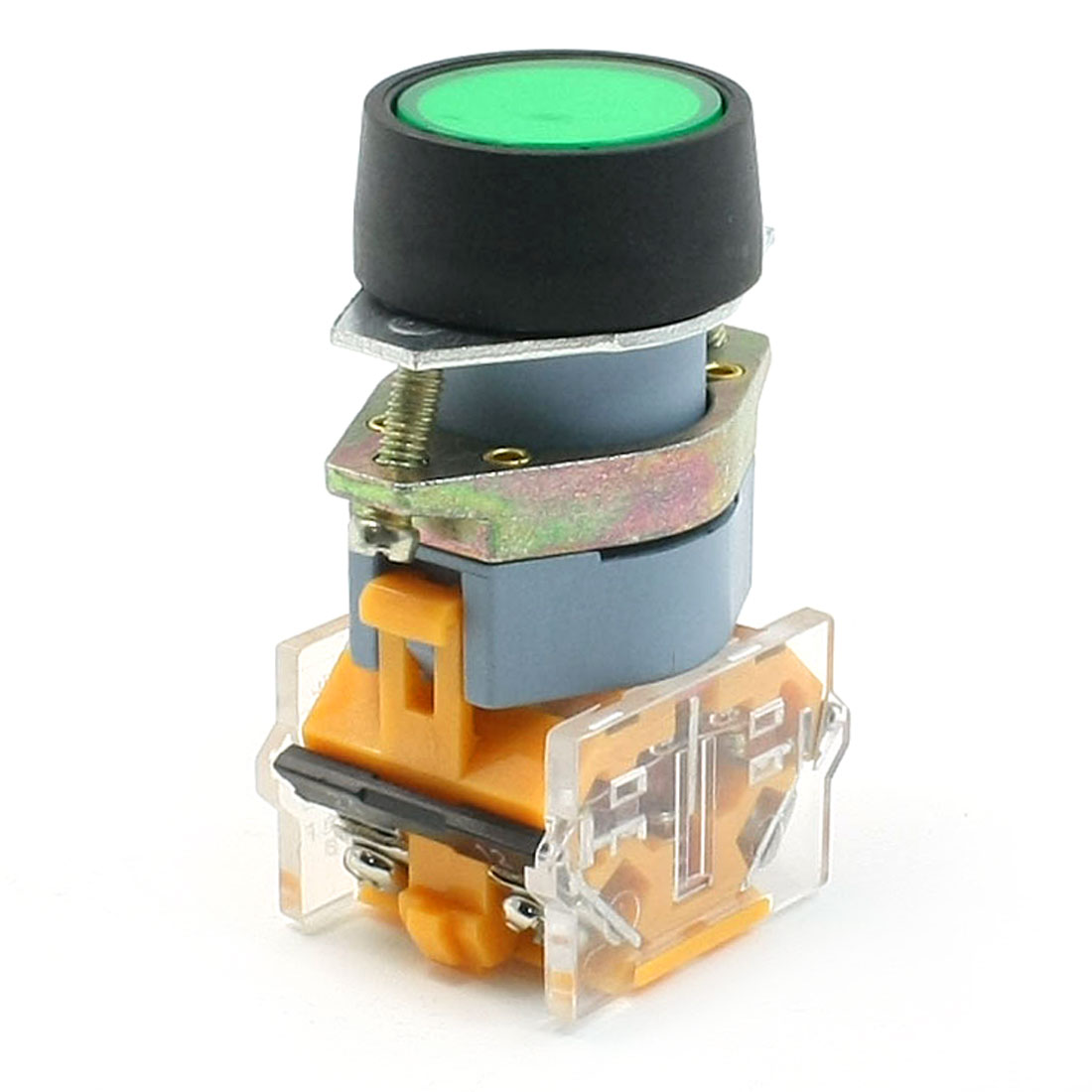 1NO 1NC DPST Panel Mounting Green Indicator Lamp Push Button Switch 660V 10A