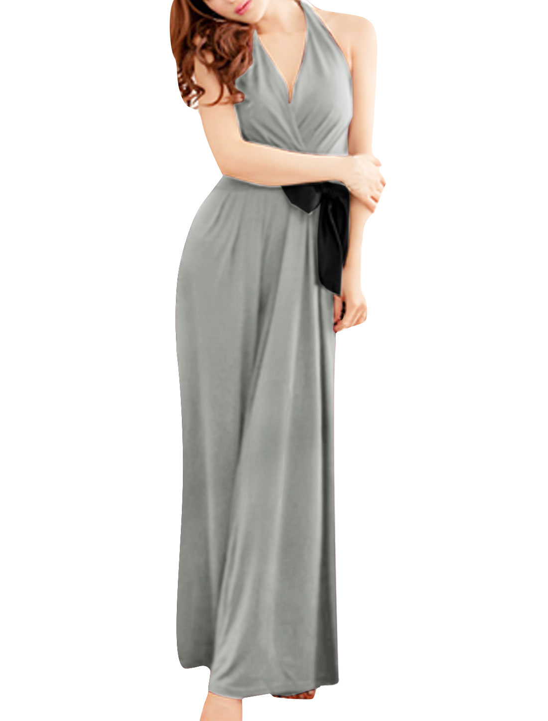 Ladies Chic Cross V Neck Halter Neck Design Light Gray Jumpsuit XS