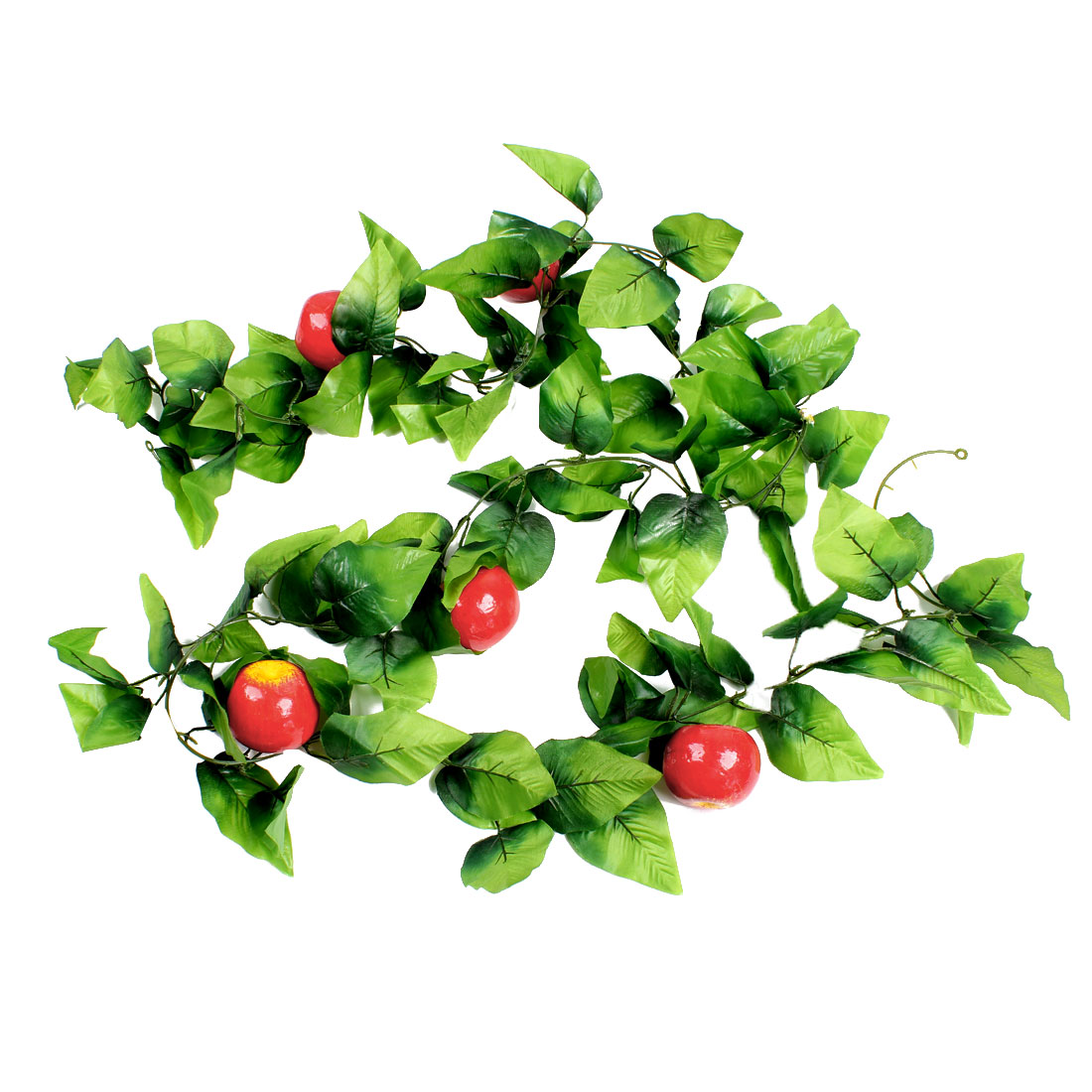 Red Yellow Apple Green Leaf Wall Decorative Artificial Hanging Vine 2.45M