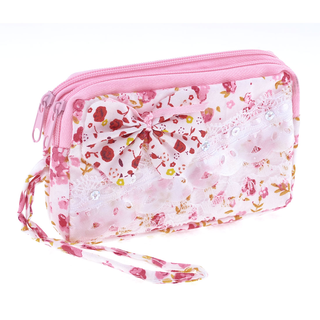 Lady White Pink Nylon Zippered 2 Compartments Cards Purse Pouch Coins Wallet