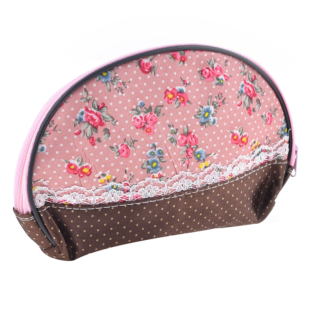 Ladies Women Dotted Flower Pattern Colorful Makeup Bag Cosmetic Purse