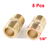 "5 Pcs 1/4""PT to 1/4""PT Male Thread Brass Straight Pipe Connector Fitting"