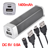 Black 1400mAh Mobile Alloy Portable Power Bank for Type A USB Phone Mp3