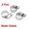 3 x Stainless Steel 6mm to 12mm Hose Pipe Clamps Clips Fastener