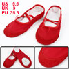 Red Split Sole Drawstring Top Ballet Dancing Flats Shoes US Size 5.5 for Lady