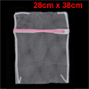 Zippered White Pink Dirty Clothes Laundry Holder Storage Bag 28cm x 38cm