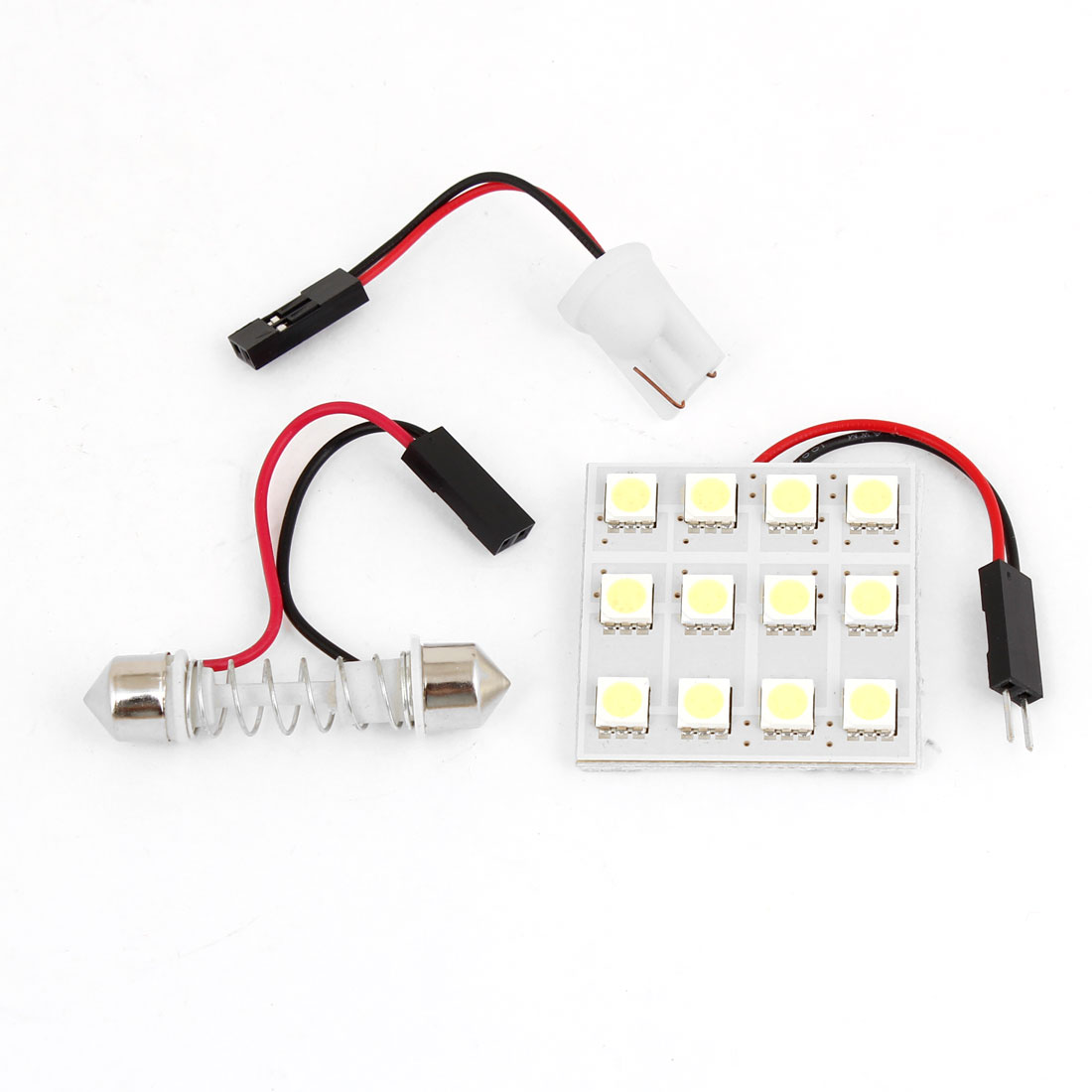 Auto Car Interior Roof White 5050 SMD 12 LED Light Panel w T10 Festoon Adapter