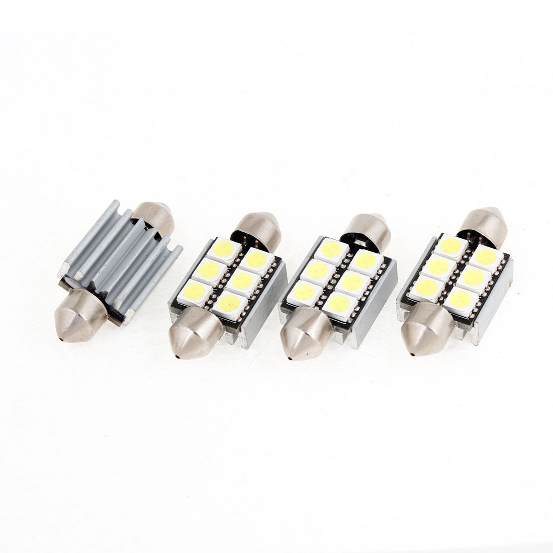 4PCS Car 5050 SMD White 6 LED Canbus No Error Festoon Light 39mm w Heatsink internal