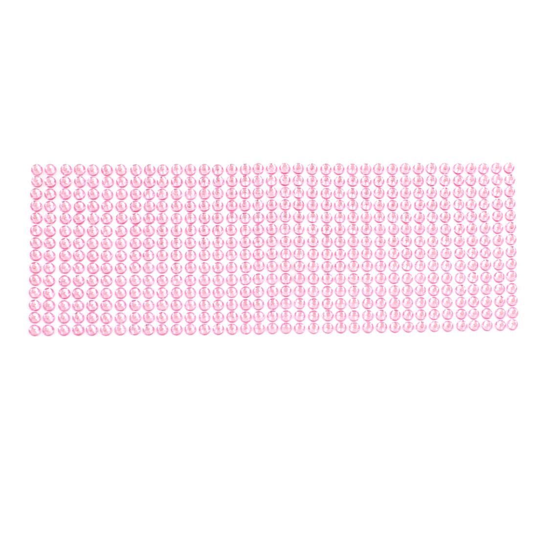 Car Pink 6mm Diameter Sparkling Rhinestones Detail DIY Stickers Decal Decoration