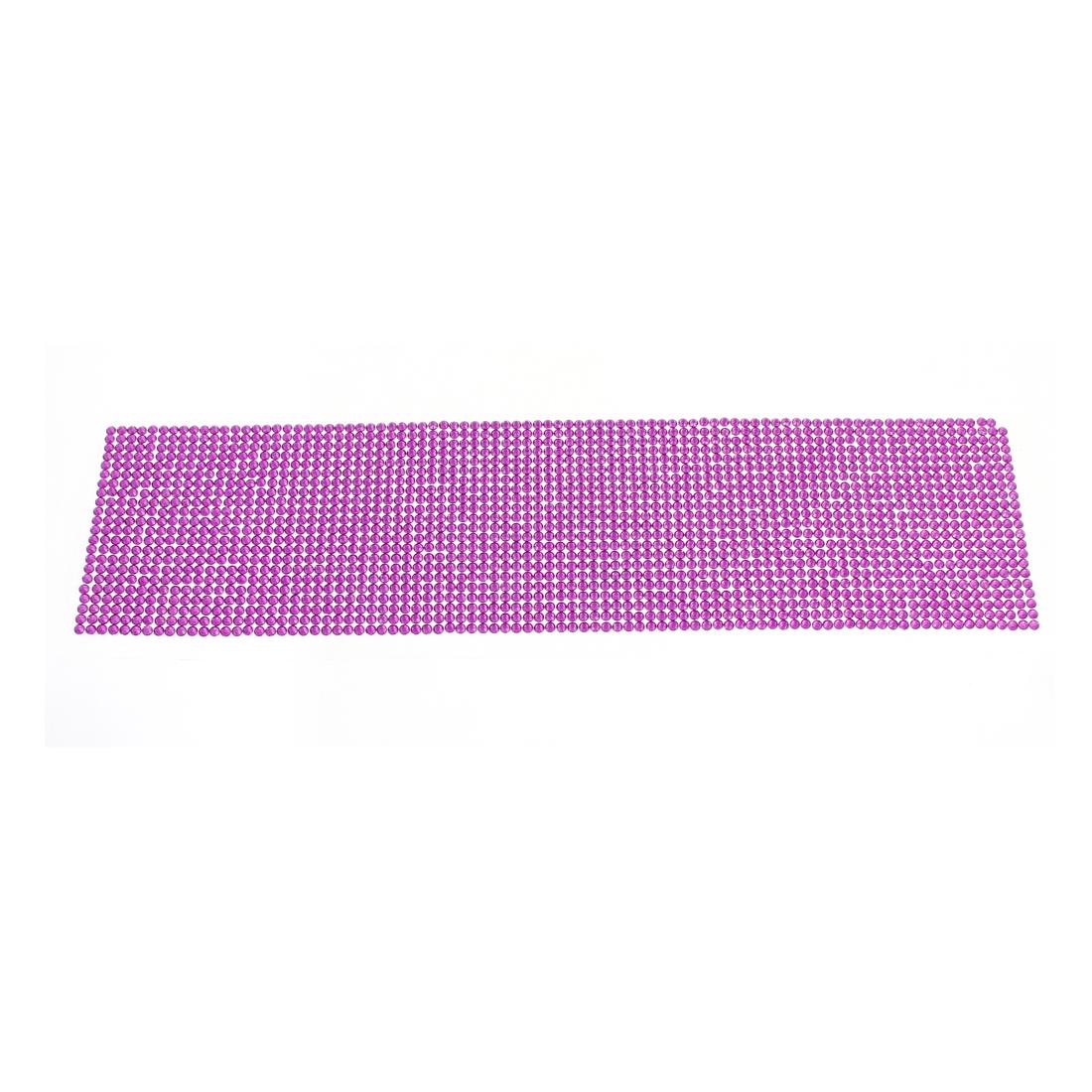36cm x 9cm DIY Purple Mini Rhinestone Self Adhesive Stickers Decor for Vehicle