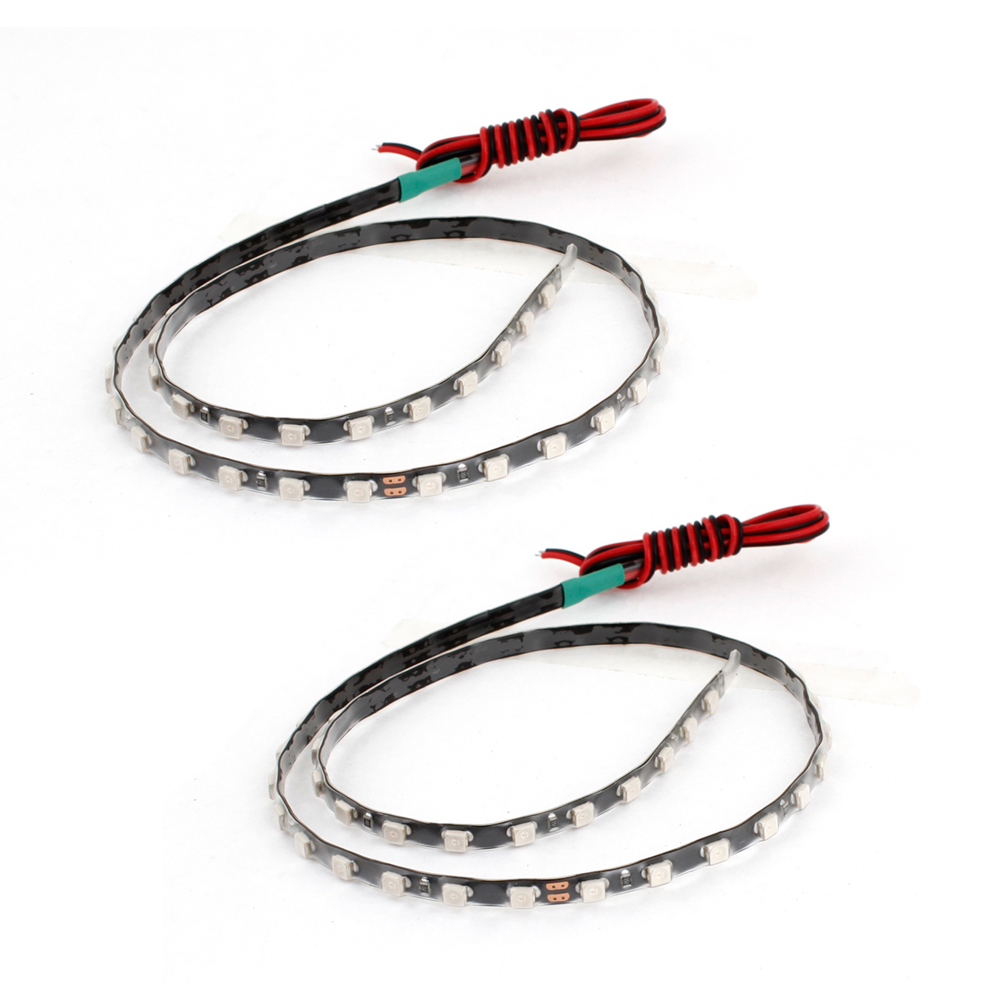 2PCS Car Interior Green 1210 SMD 45 LED Flexible Strip Light Lamp 45CM Long