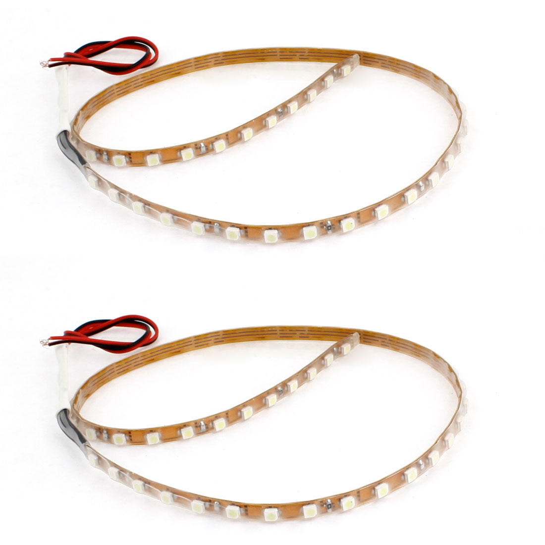 2pcs Car White 45 LED 1210 3528 SMD Decorative Flexible Light Strip Bar 17.7""