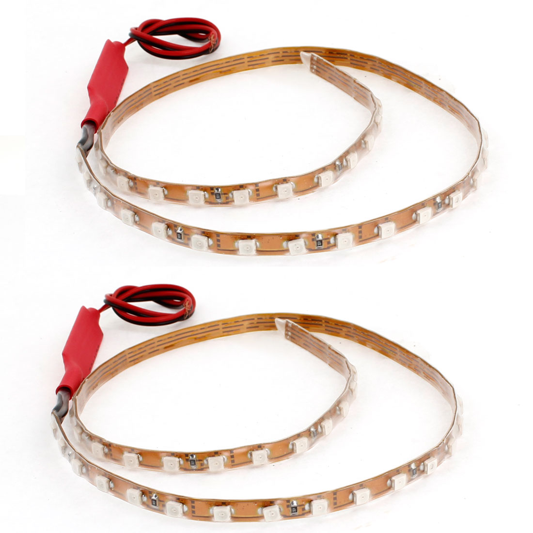 2 x Automobile Car Interior Red 1210 SMD 45 LED Flexible Strip Light Lamp 45CM