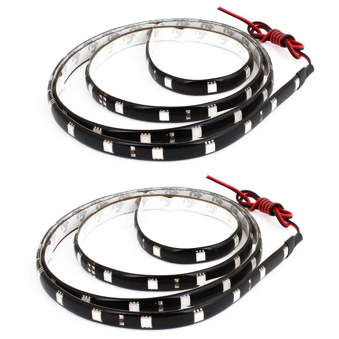 2 Pcs Blue 5050 SMD 48 LED Flexible Lamp Light Strip 120cm for Car Decorative