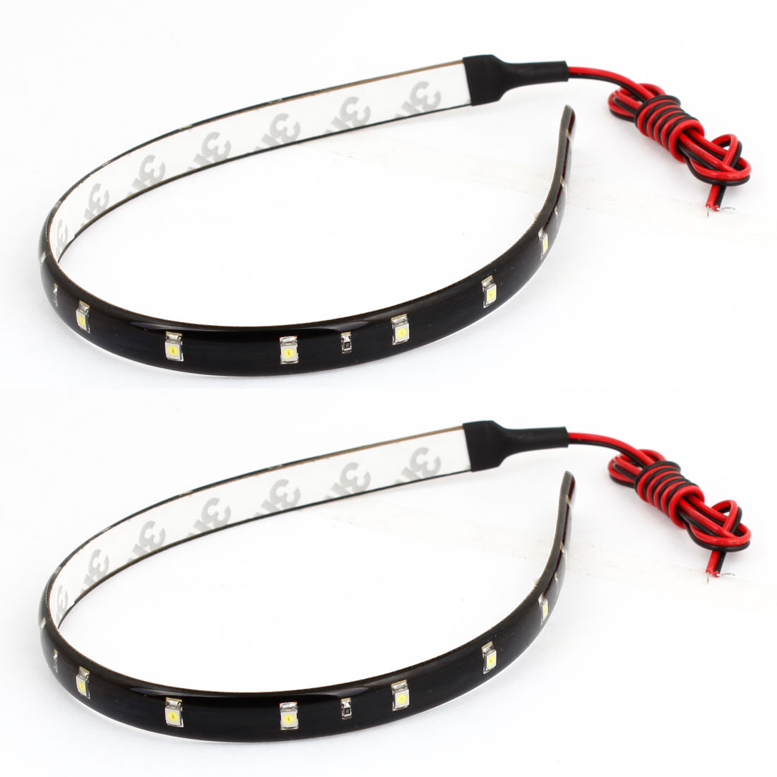 2 Pcs Car 15 LED 3528 1210 SMD Decorative Flexible Light Strip White 30cm Long