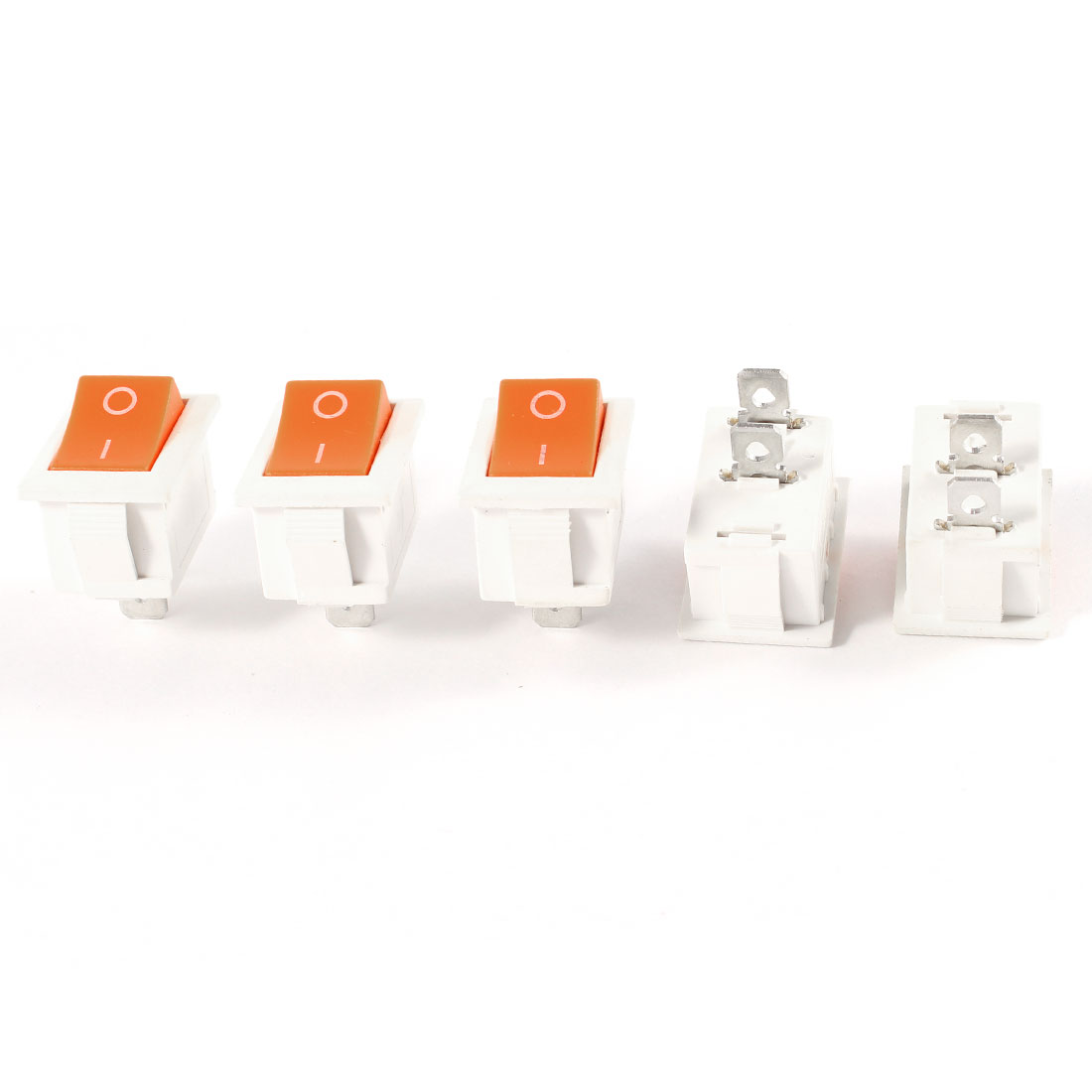5 Pcs AC 250V/6A 125V/10A ON/OFF 2-Position SPST Snap In Rocker Switch