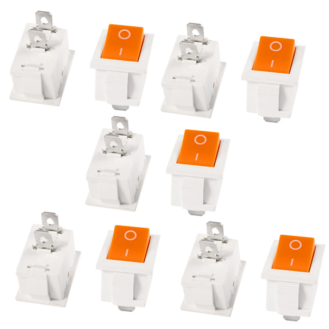 10 Pcs AC 250V/6A 125V/10A ON/OFF SPST Orange Button Snap In Rocker Switch