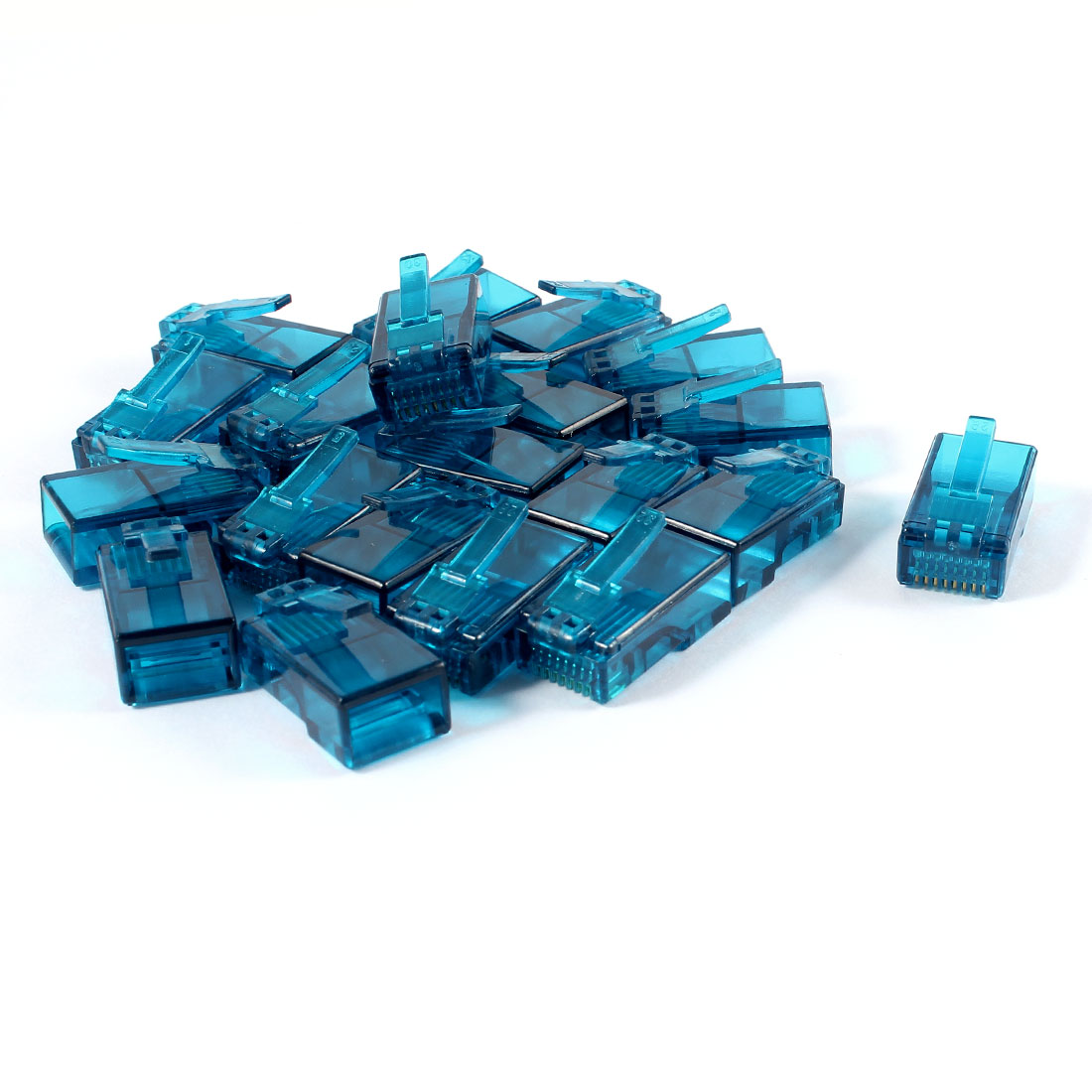 20 Pcs Teal Blue Plastic Shell RJ45 8P8C Jack Modular End Network Connector