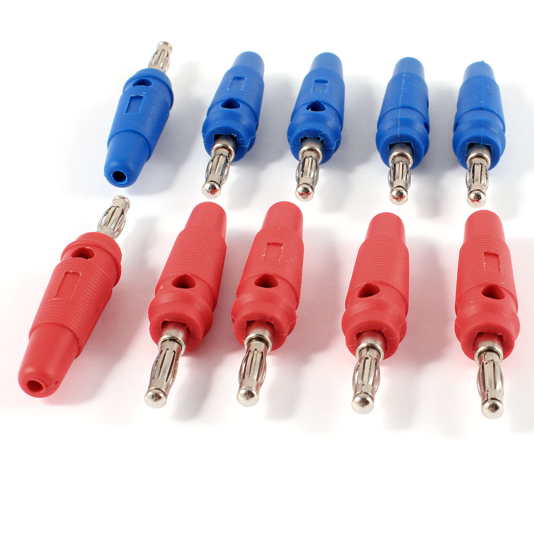 10 Pcs 3mm Audio Speaker Wire Cable Connector Adapter Screw Banana Plug Red Blue