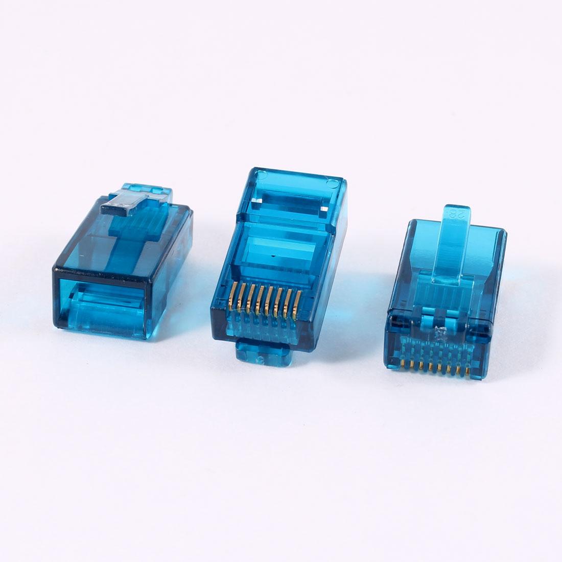 3 Pcs Teal Blue Plastic Shell RJ45 8P8C Modular Jack End Network Connector
